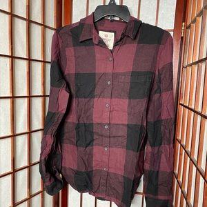 Merlot black plaid flannel button down shirt